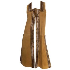 Chic 1970s Tan Suede Leather Embroidered 70s Vintage Boho Sleeveless Vest Jacket