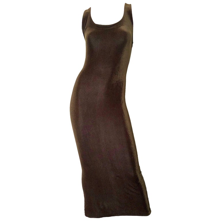 Betsey Johnson Size 10 / 12 Brown Velour Bodycon Vintage Maxi Dress, 1990s