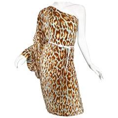 Christian Dior von John Galliano Größe 12 Blaues Leoparden Ein-Schulter Kleid aus Seide