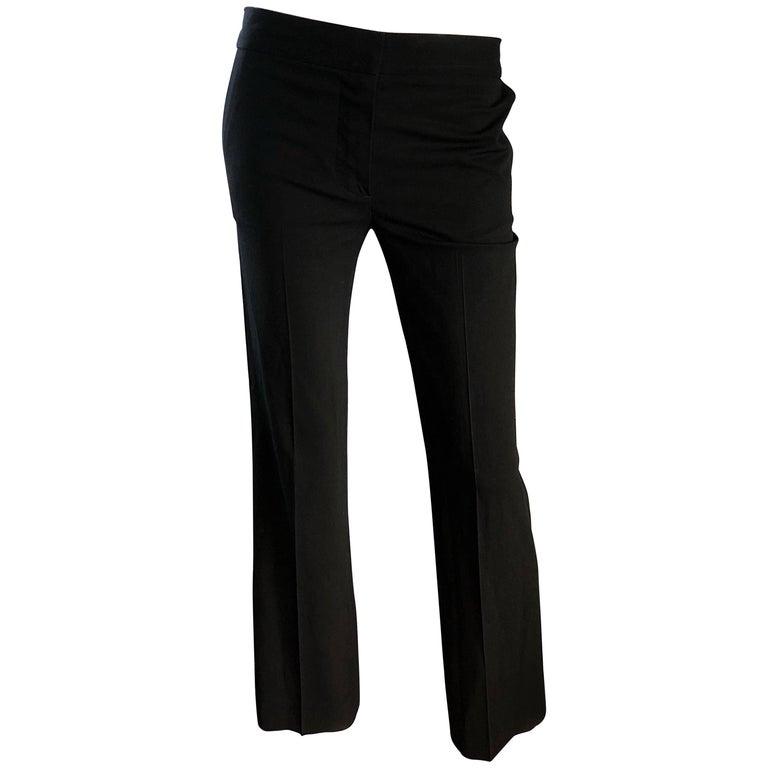 Karl Lagerfeld for Chloe 1990s Black Silk Flare Leg Low Rise 90s Classic Pants