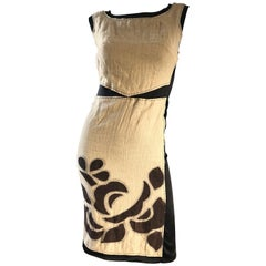 Alberta Ferretti Tan Brown Black Sz 6 Linen and Silk Patchwork Vintage Dress