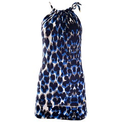 Roberto Cavalli 1990s Vintage Blue Leopard Print Silk Knit 90s Mini Dress