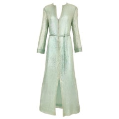 1970s HALSTON Minty Green Iridescent Sequin Kaftan Dress