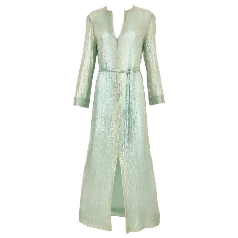 1970s HALSTON Minty Green Iridescent Sequin Kaftan Dress