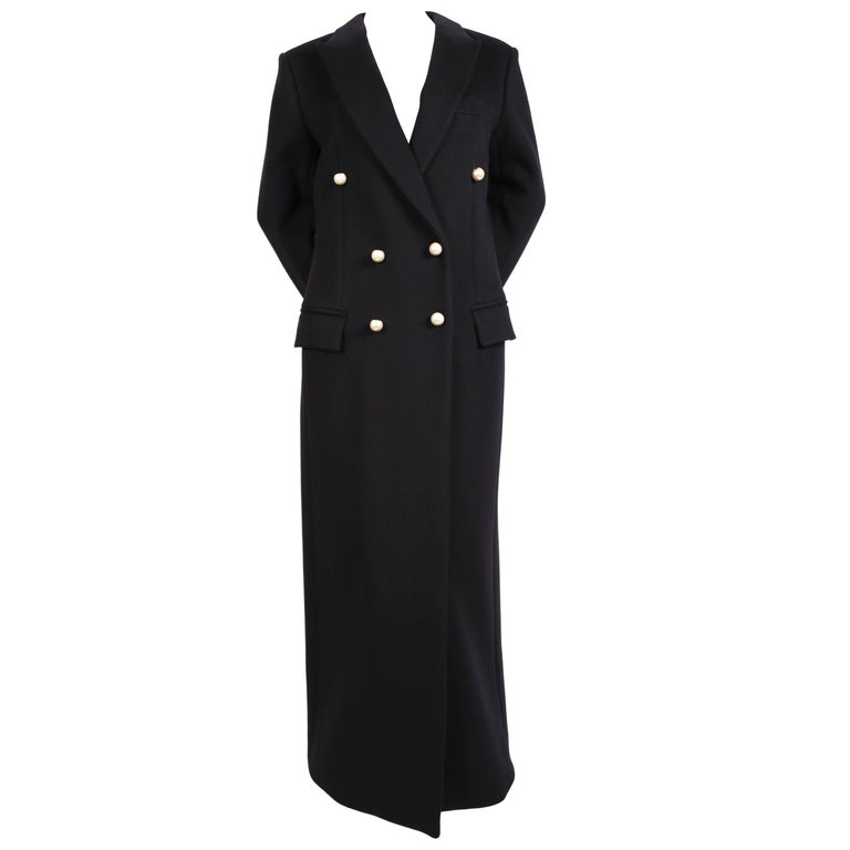 CELINE by Phoebe Philo navy blue wool coat with pearl buttons