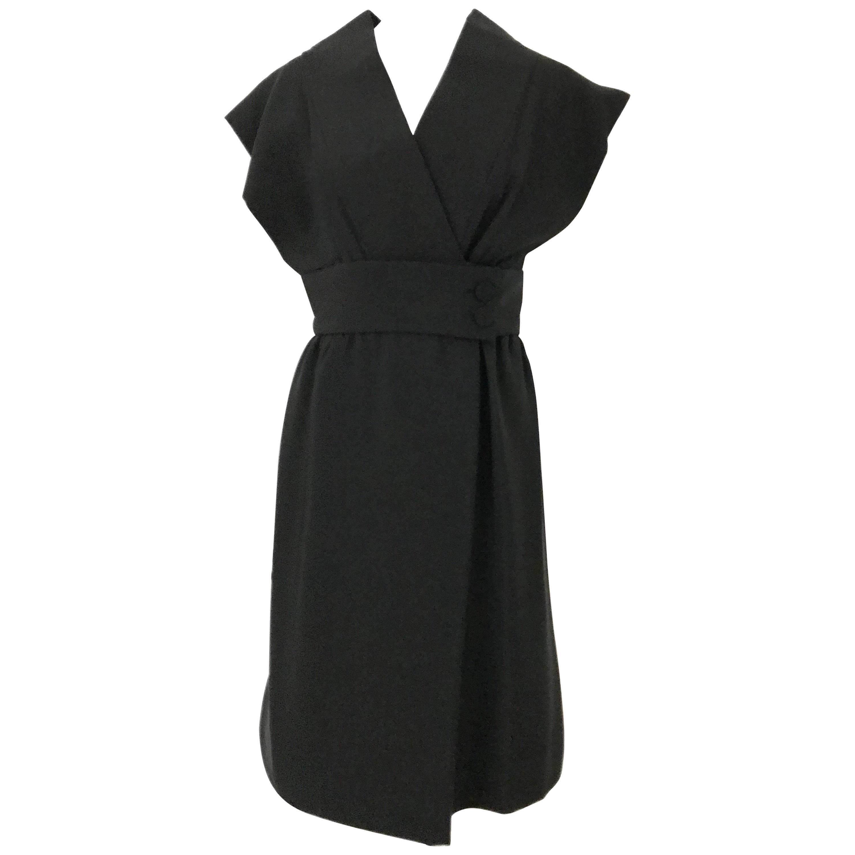 1960s Norman Norell Black Obi Dress