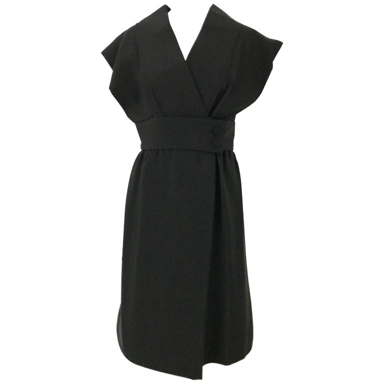1960s Norman Norell Black Obi Dress  For Sale