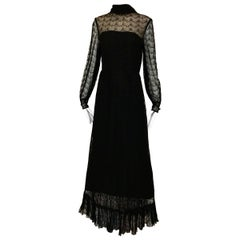 1970s Givenchy Black Lace Maxi Party Dress