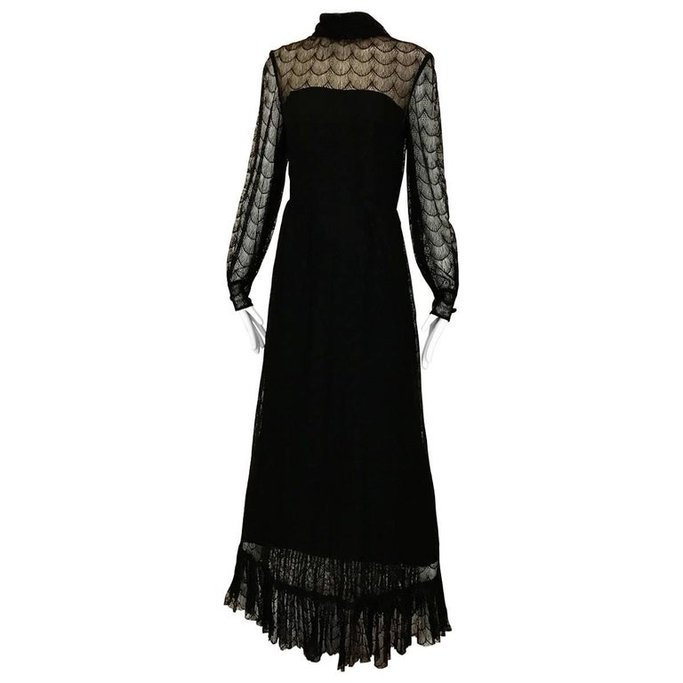 Vintage Givenchy Black Lace Maxi Dress