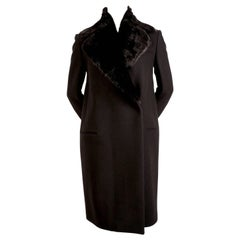 CELINE by Phoebe Philo black wool crombie coat with removable rabbit collar