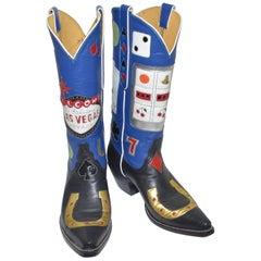 Rare Las Vegas Tres Outlaws Custom Bespoke Cowboy Boots