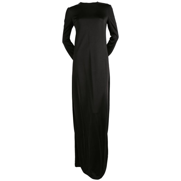 Celine By Phoebe Philo Long Black Draped Dress With Side Slits At