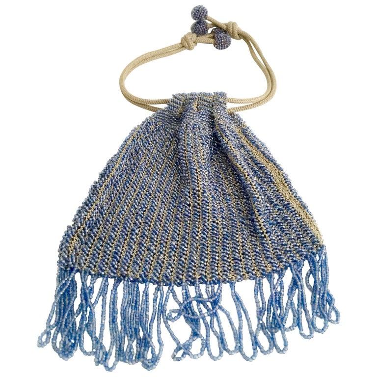 Antique Hand Cut Art Glass Bead Crochet Drawsting Evening Bag