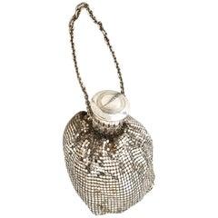 20'S Whiting & Davis Art Deco Silver Metal Mesh Wristlet Evening Bag