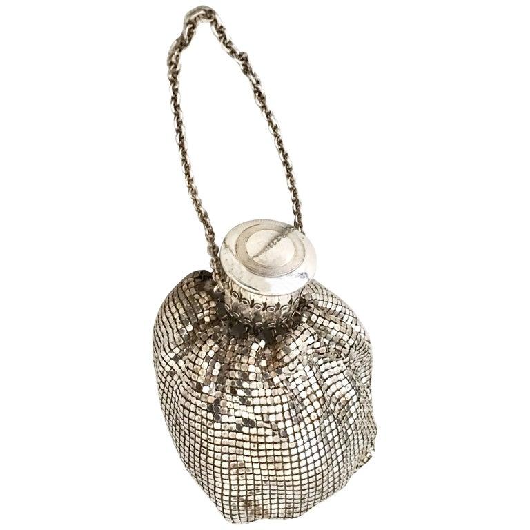 Whiting & Davis Art Deco Silver Metal Mesh Wristlet Gate Top Evening Bag, 1920s