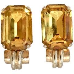 1930'S Gold & Citrine Art Glass Earrings By, Coro