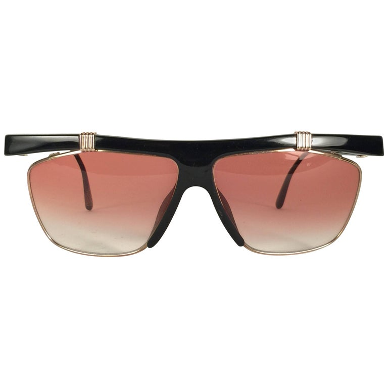 54e02ed67b1 New Vintage Christian Dior 2555 Black   Gold Frame Optyl Sunglasses Germany  For Sale