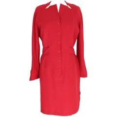Thierry Mugler Paris 100% worsted wool red dress size 44 it vintage 1980s