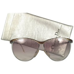 Mint Vintage Christian Dior 2150 Oversized Silver Optyl Sunglasses Germany