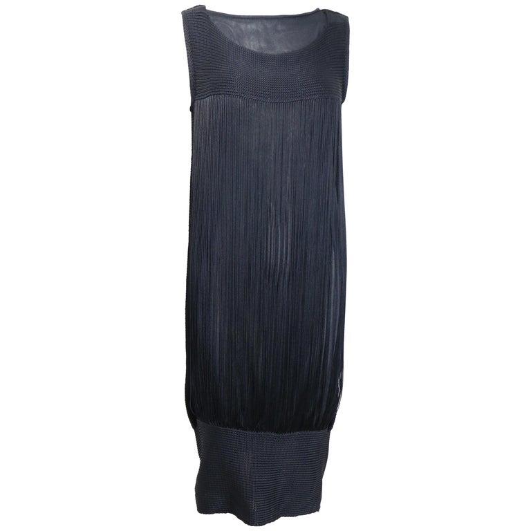 Jil Sander Navy Knitted with Fringe Dress For Sale