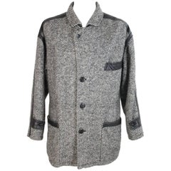 Givenchy wool coat black white size 52 it men's vintage 1980s made italy