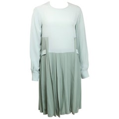Chloe Green Silk Two-Tone Pleated Long Sleeves Dress