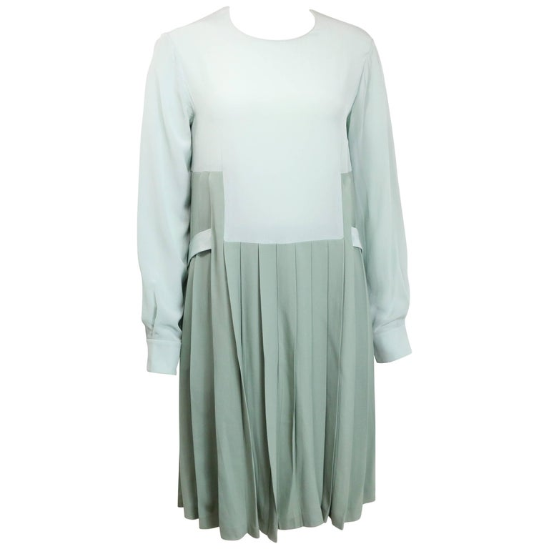 Chloe Green Silk Two-Tone Pleated Long Sleeves Dress  For Sale
