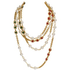 Chanel Extra Long Pearl Gripoix Sautoir Necklace, 1990s