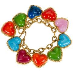 RARE Chanel Gold Gripoix Heart Bracelet