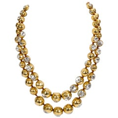1970's Collectible Chanel Crystal Gold Double Necklace