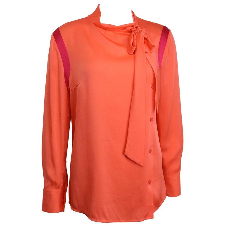 Ports Orange Silk Button Shirt  For Sale