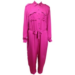 Lanvin Pink Silk Button Front Jumpsuit.