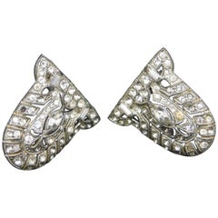 A Pair of Art Deco Shoe Clips with Crystals