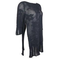 e2c4eef6d69 Gianni Versace Black Knitted Wool Side Silt Sweater. Gianni Versace Black  Lambskin Leather Medusa Sleeveless Dress