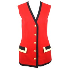 Gianni Versace Jeans Couture Red Wool Vest with Black Piping Trim
