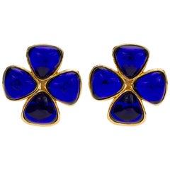 Chanel Blue Gripoix Clover Clip Earrings, 1980s