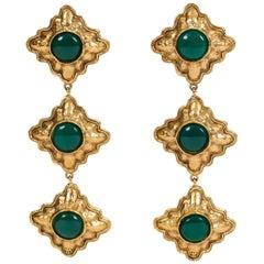 1980's Rare Chanel Green Gripoix Long Drop Earrings