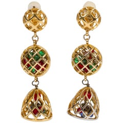 1970's Chanel Collectible Cage Drop Earrings