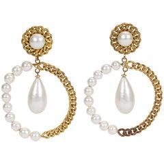 1970's Rare Chanel Oversized Drop Pearl Earrings