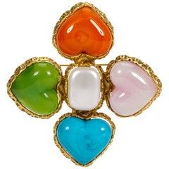 1980's Chanel Rare Heart Gripoix Pin