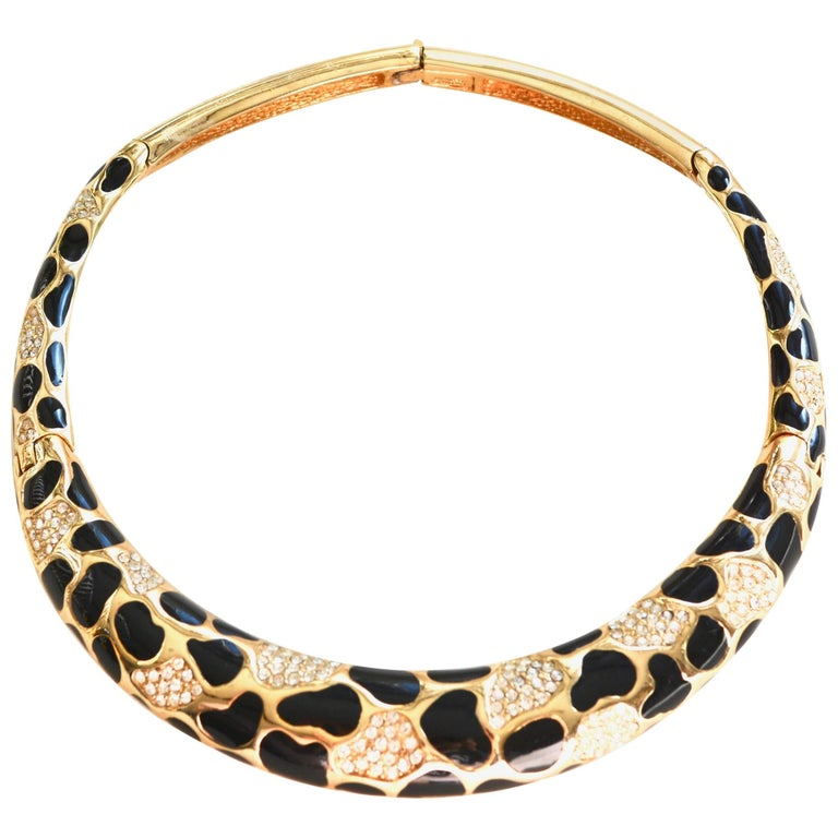 70s Christian Dior Leopard Necklace and Earrings at 1stdibs