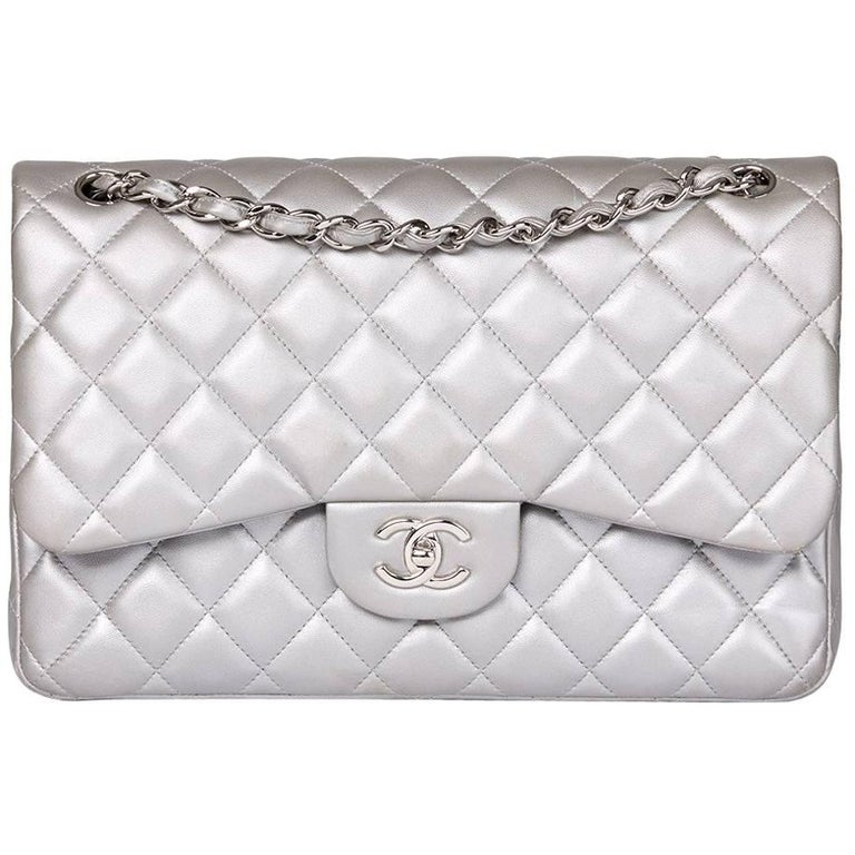 Chanel Silver Metallic Quilted Lambskin Jumbo Classic Double Flap Bag For