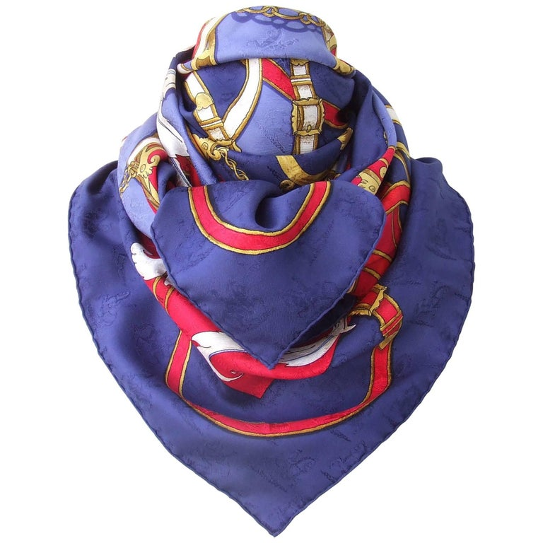 Hermes Vintage Silk Scarf Instruction Du Roy Blue Red Gold Jacquard 90 cm