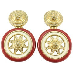 1980's Dior Large Red and White Enamel and Rhinestones Gilt Earrings