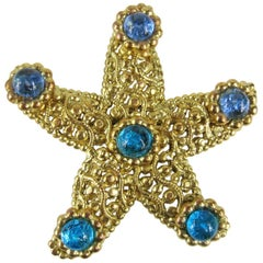 1980s Dominique Aurientis Gripoix Glass Star Fish Brooch Pin New, Never worn
