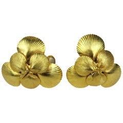 1980's Dominique Aurientis Gold Gilt Sea shell Earrings New, Never Worn