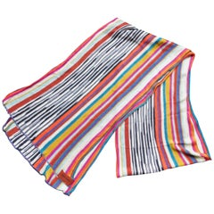 Missoni Knitted Silk Multicolor Striped Scarf