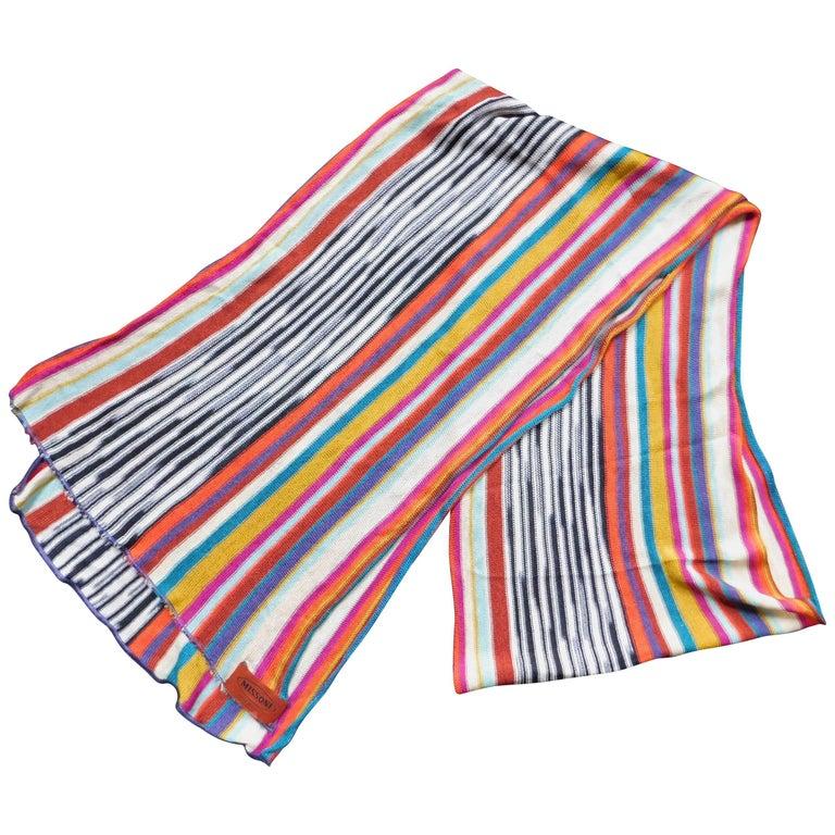 Missoni Knitted Silk Multicolor Striped Scarf