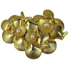 1980's Dominique Aurientis Gold Gilt Sea shell Brooch New, Never worn