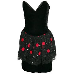 Christian Dior black and red velvet dress, circa 1985